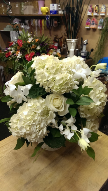 White hydrangea, rose & orchid