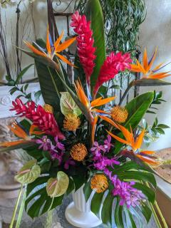 Tall Tropical Urn